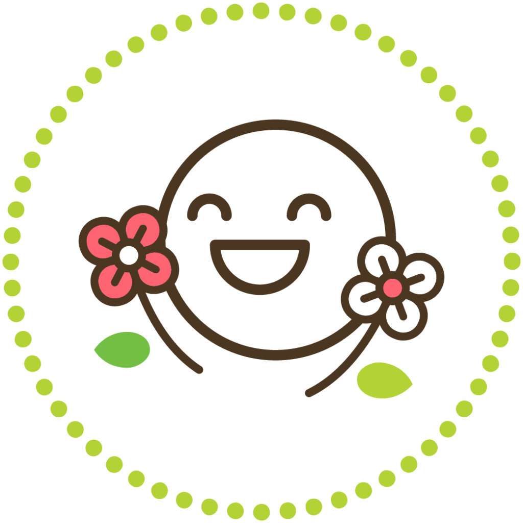 Computer graphic smiling face with flowers surrounding.