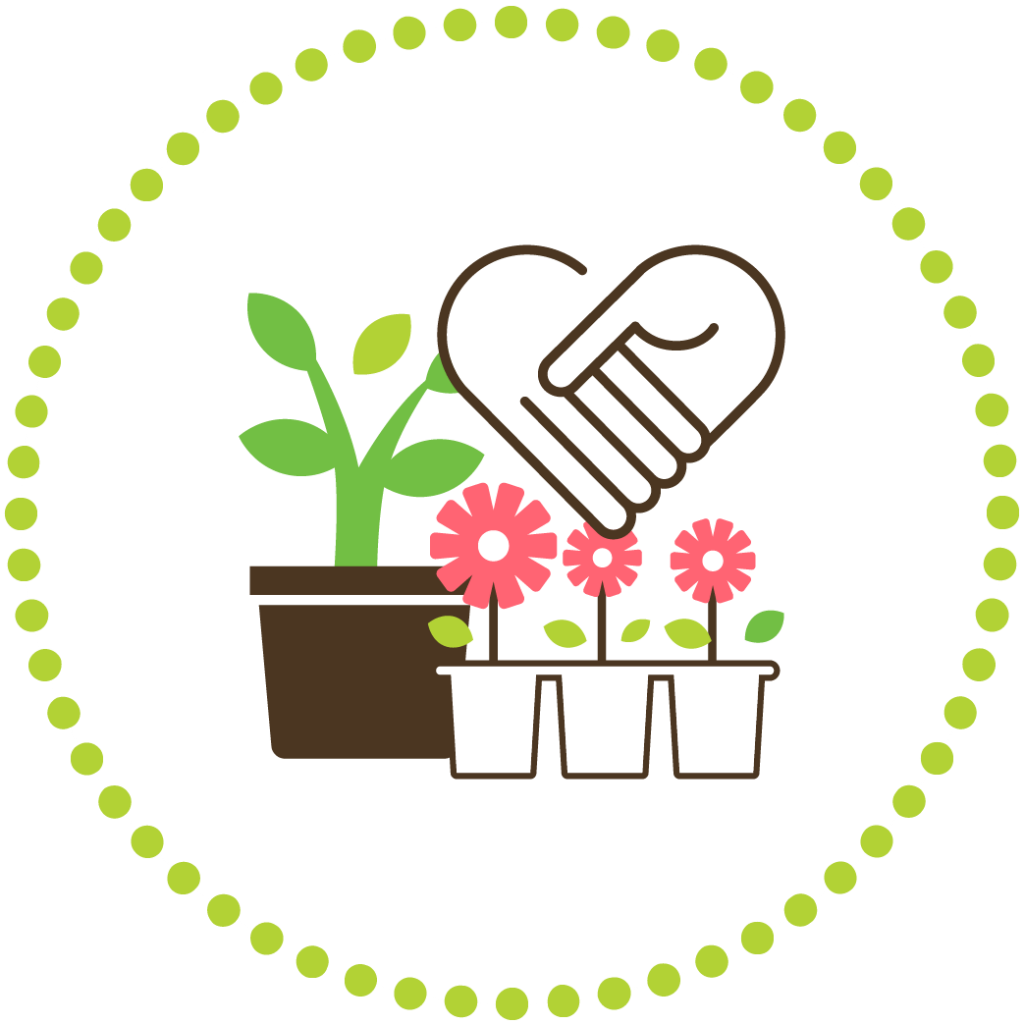 Computer graphic of potted plants and flowers next to a pair of holding hands, symbolizing intimate connections.