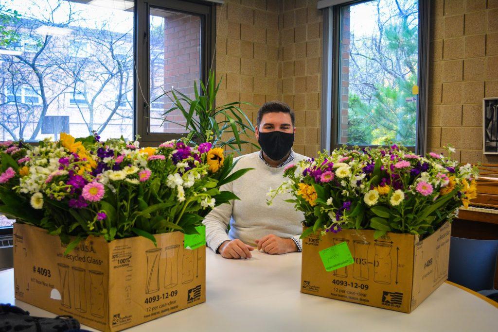 H.O.M.E. Volunteer prepares Flower Donation from Ashland Addison Florist
