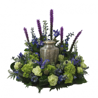 Urn Wreath - Green & Purple
