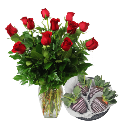 A Dozen Roses With Chocolate Covered Strawberries Delivery 2/13 & 2/14 Only