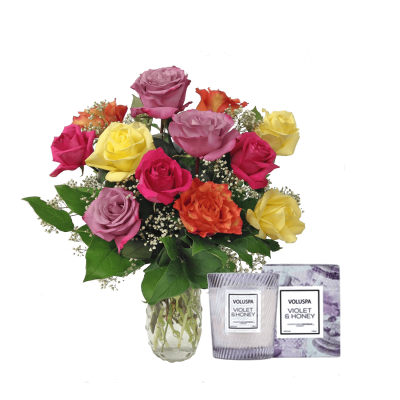 Super Colorful Dozen Roses & Voluspa Candle