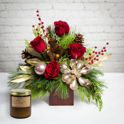 Woodland Berry Centerpiece - With Candle