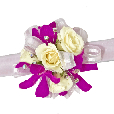 Orchid & Spray Rose Corsage on Lilac Bracelet