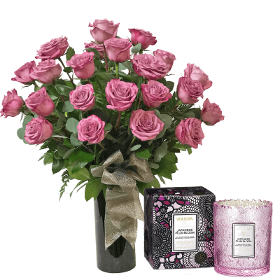 24 Lovely Lavender Roses & Voluspa Candle
