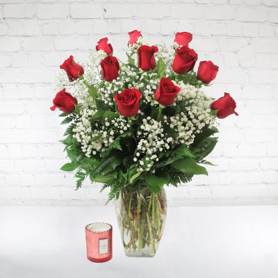 Classic Dozen Red Roses with Baby's Breath  & Voluspa Candle